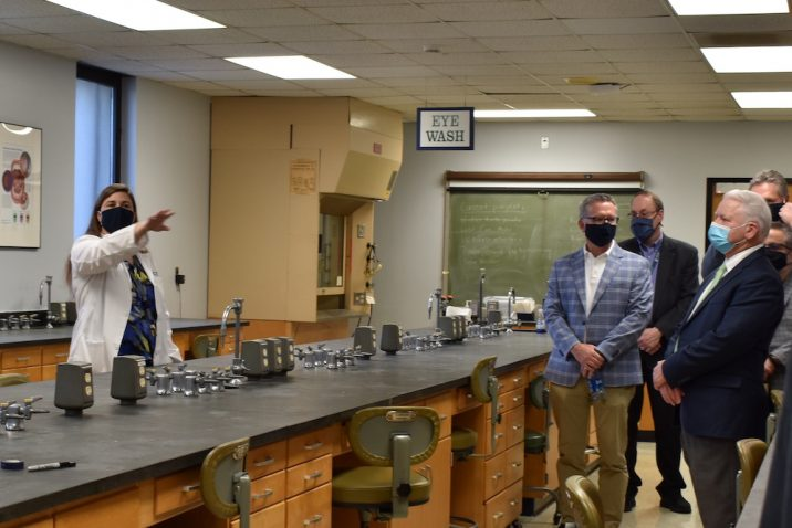 group touring a lab