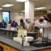 People touring a lab