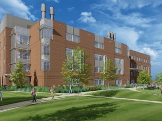 An artist's rendering shows the new College of Science and Mathematics building