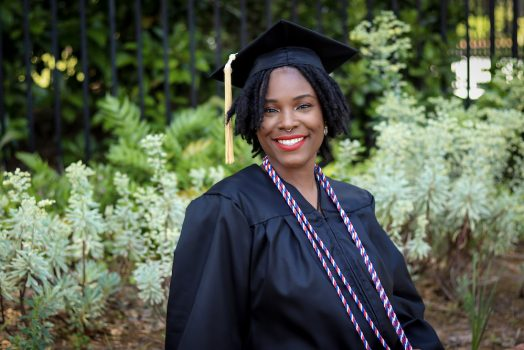 Woman wearing a graduation gown