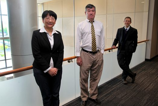 A woman and two men stand in a line looking at the camera