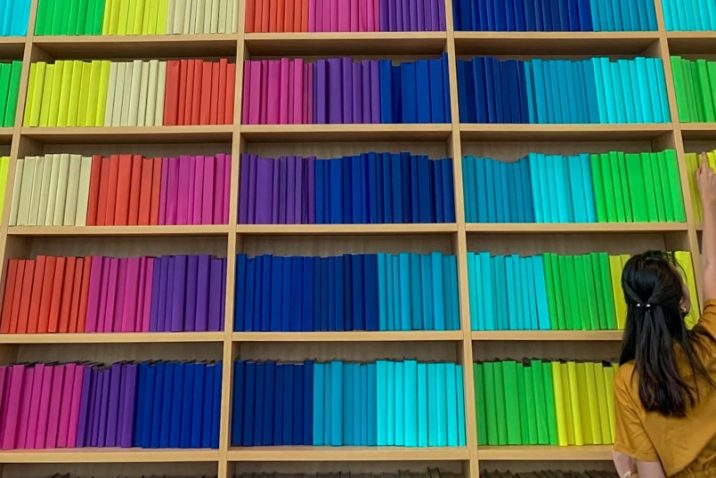 Rainbow colored books