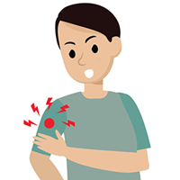 graphic of a man with pain in his arm