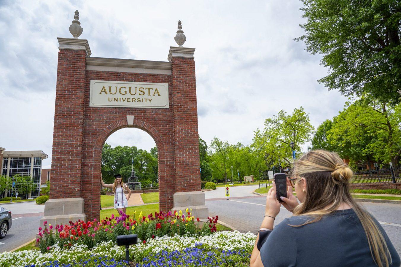 Graduate getting photo taken