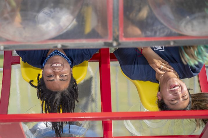 People on carnival ride