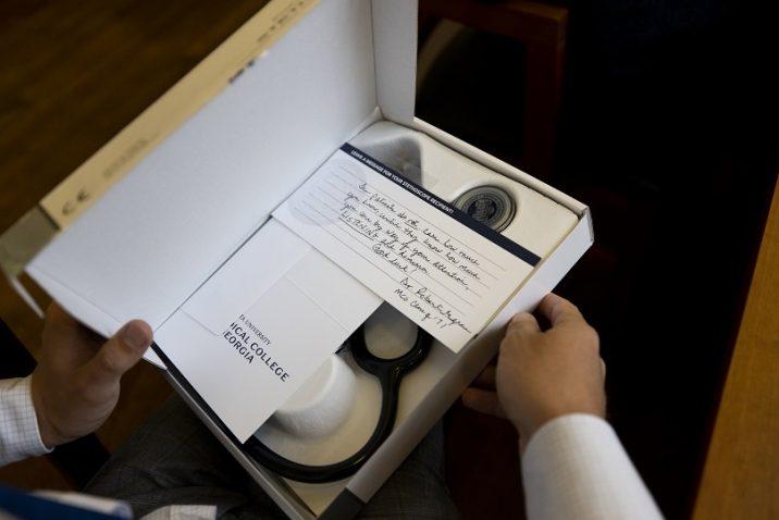 open box containing stethoscope