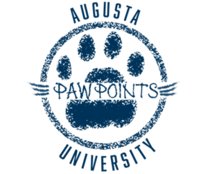 """the Paw Points program logo: a blue paw with text reading """"Augusta University Paw Points"""""""