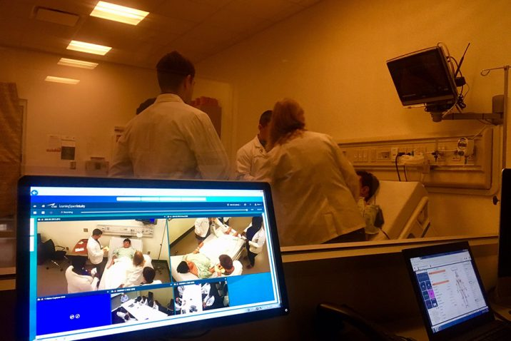 Screen looking at people