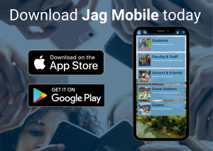 graphic that says download jag mobile with icon buttons below that say download on app store and download on google play with a picture of a phone