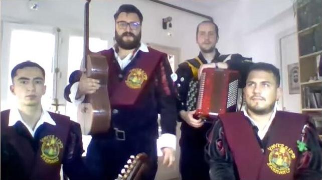 men holding musical instruments