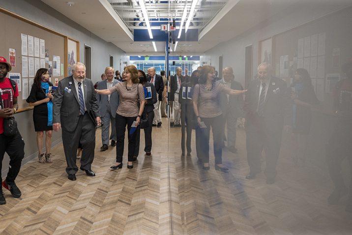 People in hallway