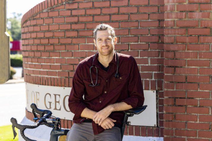 man wearing stethoscope
